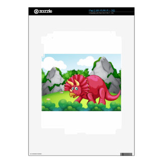 Red dinosaur in the park skins for the iPad 2