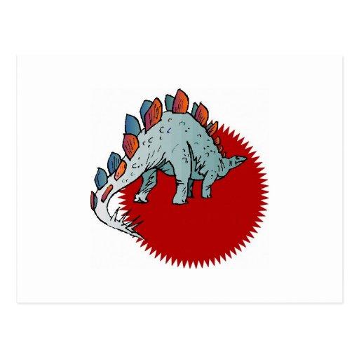 Red dinosaur postcards