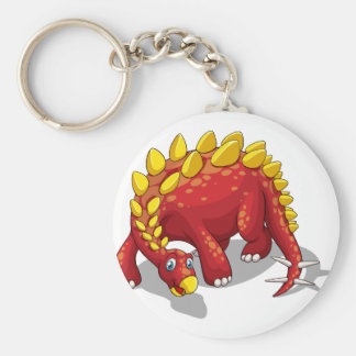 Red dinosaur with yellow spikes on white basic round button keychain