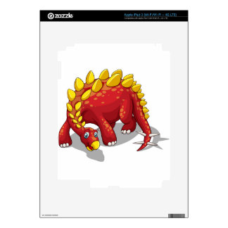Red dinosaur with yellow spikes on white decals for iPad 3