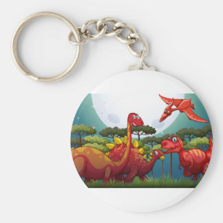 Red dinosuars under full moon in nature basic round button keychain