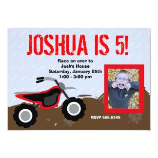 Red Dirt Bike Birthday Invitation