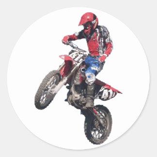 Red Dirt Bike Classic Round Sticker