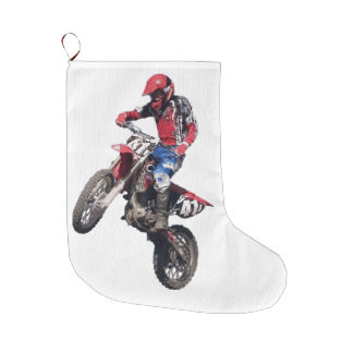 Red Dirt Bike Large Christmas Stocking