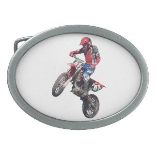 Red Dirt Bike Oval Belt Buckle