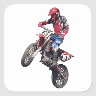 Red Dirt Bike Square Sticker