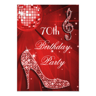 Red Disco Ball and Heels 70th Birthday Card