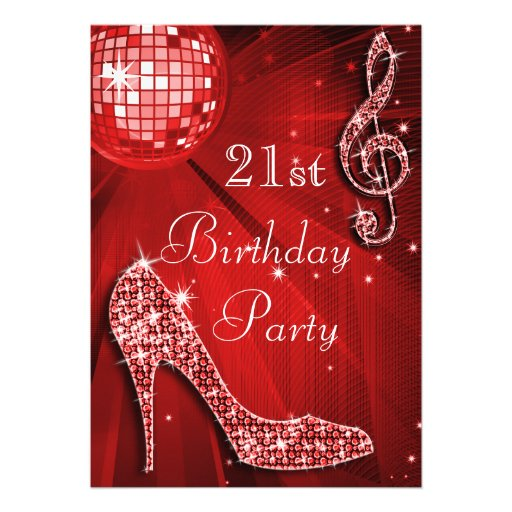 Red Disco Ball and Sparkle Heels 21st Birthday Personalized Invites