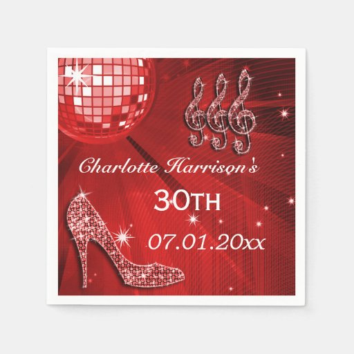 Red Disco Ball and Sparkle Heels 30th Paper Napkin