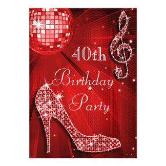 Red Disco Ball and Sparkle Heels 40th Birthday Personalized Announcement