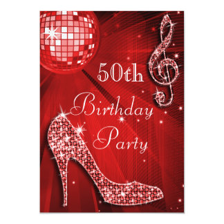 Red Disco Ball and Sparkle Heels 50th Birthday 5x7 Paper Invitation Card