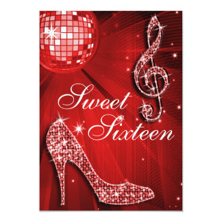 Red Disco Ball and Sparkle Heels Sweet 16 5x7 Paper Invitation Card