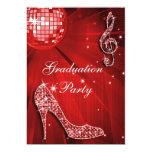 Red Disco Ball Sparkle Heels Graduation Card