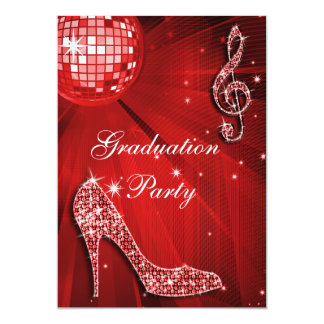 Red Disco Ball Sparkle Heels Graduation Card