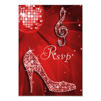 Red Disco Ball Sparkle Heels RSVP 3.5x5 Paper Invitation Card