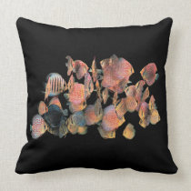 Red Discus fish Throw Pillow