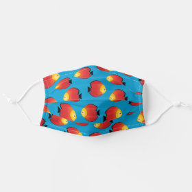 Red Discus Print Tropical Fish Pattern Cloth Face Mask