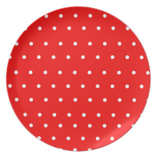 Red Display Plate with white polka dots