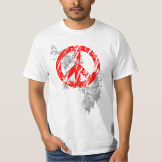 Red Distressed Peace Symbol Grey Paint Splatter Shirts