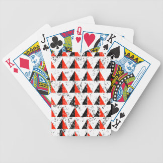 Red Distressed Triangle Pattern Bicycle Playing Cards