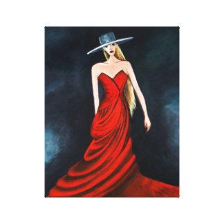 Red Diva Painting Unique Flamenco Dancer Fine Art Canvas Print
