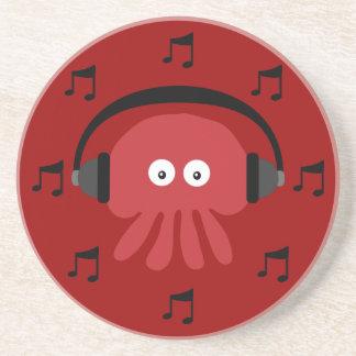 Red DJ Jellyfish, Headphones & Musical Notes Sandstone Coaster