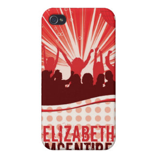 Red DJ Spin Party Girl Personalized iPhone 4 Case