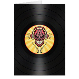 Red Dj Sugar Skull on Vinyl Record Graphic Greeting Card