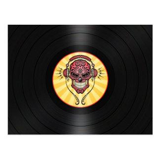 Red Dj Sugar Skull on Vinyl Record Graphic Postcard