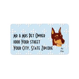 Red Doberman Pinscher Address Label