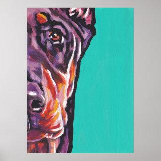 red Doberman Pinscher Dog Bright pop art print pos