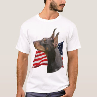 Red Doberman Pinscher head with Flag T-Shirt