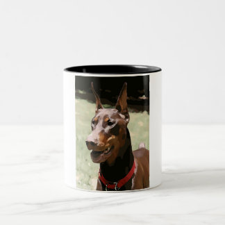 Red Doberman Portrait (v9-2) Coffee Mug