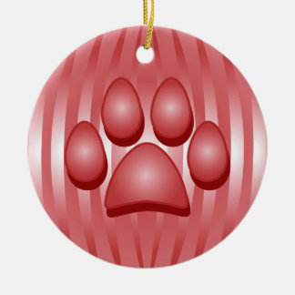Red Dog Bone and Paw Christmas Ornament