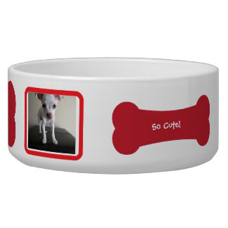 Red Dog Bone Photo Personalized Pet Bowl
