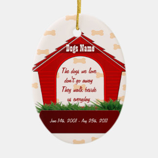Red Dog House Pet Memorial Christmas Tree Ornaments