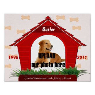 Red Dog House Pet Memorial Poster