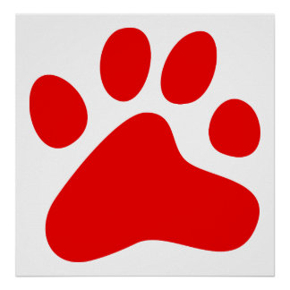 Red Dog Paw Poster