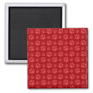 Red dog paw print pattern 2 inch square magnet