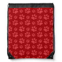 Red dog paw print pattern drawstring backpack