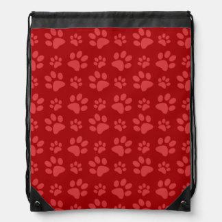 Red dog paw print pattern drawstring backpack