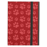 Red dog paw print pattern iPad case