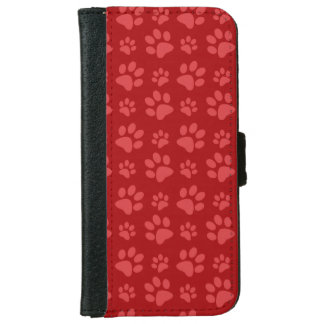 Red dog paw print pattern iPhone 6 wallet case