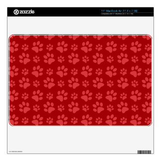 Red dog paw print pattern skin for MacBook air