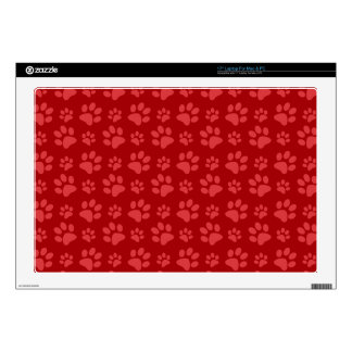 Red dog paw print pattern decals for laptops