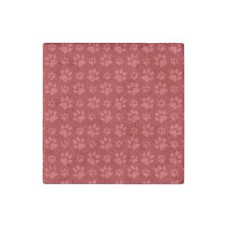 Red dog paw print pattern stone magnet