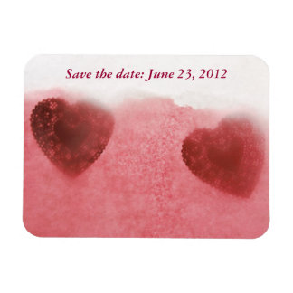 red doily hearts on pink save the date magnet