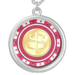 Red Dollar Sign Poker Chip Necklace