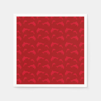 Red dolphin pattern paper napkin