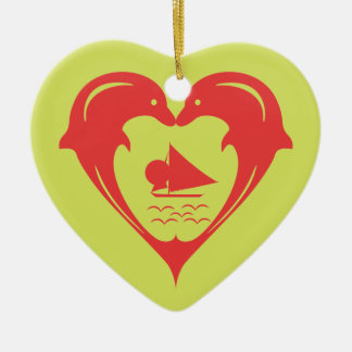 Red Dolphins Heart Custom Background  Ornament
